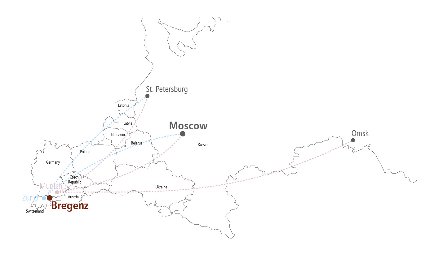 Flights from Russia To Prague: Overview Map